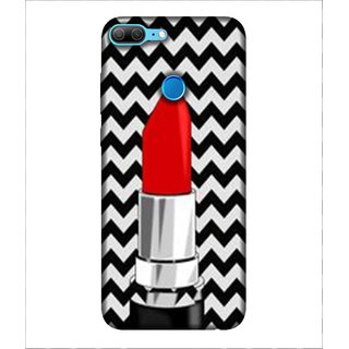 For Huawei Honor 9 Lite Lipstick, Red, Zig Jag Pattern, Lovely pattern,  Printed Designer Back Case Cover By Human Enterprise