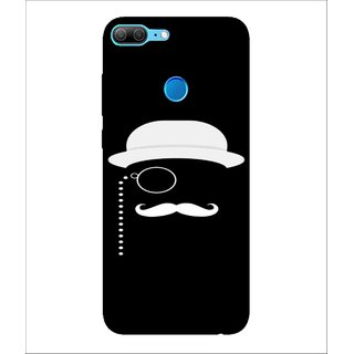 For Huawei Honor 9 Lite CAP, Black, CAP With Mustash, Dashing Pattern,  Printed Designer Back Case Cover By Human Enterprise