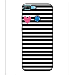 For Huawei Honor 9 Lite Heart, Black, Black & White Pattern, Heart Pattern,  Printed Designer Back Case Cover By Human Enterprise