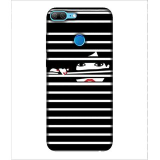 For Huawei Honor 9 Lite Lady, Black, Lady Looking from window, Amazing Pattern,  Printed Designer Back Case Cover By Human Enterprise