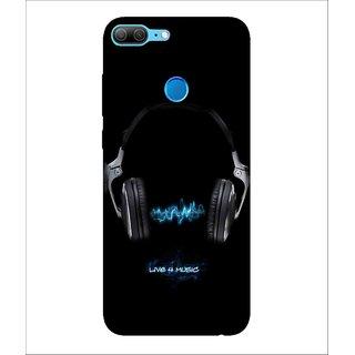 For Huawei Honor 9 Lite Head Phone, Black, Music Headphone, Great pattern,  Printed Designer Back Case Cover By Human Enterprise
