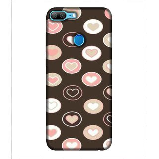 For Huawei Honor 9 Lite Heart, Black, multicolour heart, Magnificent Pattern,  Printed Designer Back Case Cover By Human Enterprise