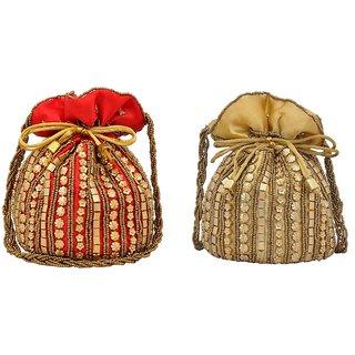 GRV Fashion Combo of 2 POTLI Bags(Golden Red)
