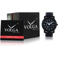 Volga W05-0015 Black Leather Black Dial Sports Leather