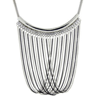 The Jewelbox Rhodium Plated Silver Brass  Copper Necklace Set For Women's