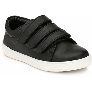 Hirels Black 3 Strap Kids Sneakers