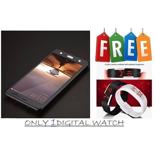 Vinnx 360 Degree Full Body Protection Front & Back Case Cover for OnePlus 3T With Tempered Glass With Free Unisex LED Digital Watch - Black  - Super Value Combo Offer