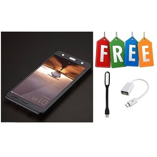 Vivo V3 360 Degree Cover With Tempered Glass With Free OTG Cable & LED Light - Black  - Super Value Combo Offer