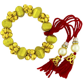 The Jewelbox Handcrafted Antique Red Thread Gold Plated Beads Pearl Cz Bracelet For Kids Girls Women