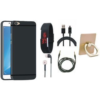 Samsung C7 Pro Cover with Ring Stand Holder, Digital Watch, Earphones, USB Cable and AUX Cable