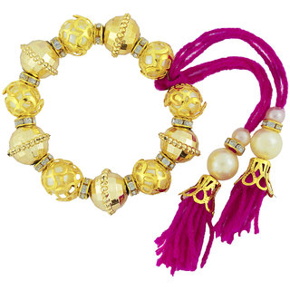 The Jewelbox Pink Thread Gold Plated Beads Filigree Pearl Cz Stretchable Bracelet For Kids Girls Women