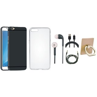 Samsung C9 Pro Soft Silicon Slim Fit Back Cover with Ring Stand Holder, Silicon Back Cover, Earphones, USB Cable and AUX Cable