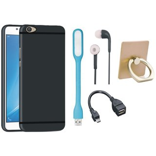 Samsung C9 Pro Soft Silicon Slim Fit Back Cover with Ring Stand Holder, Earphones, USB LED Light and OTG Cable