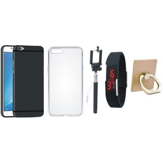Samsung C7 Pro Cover with Ring Stand Holder, Silicon Back Cover, Selfie Stick and Digtal Watch
