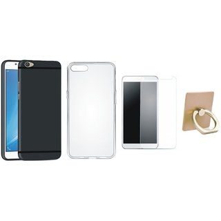 Samsung C9 Pro Soft Silicon Slim Fit Back Cover with Ring Stand Holder, Silicon Back Cover, Tempered Glass