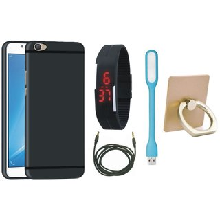 Samsung C9 Pro Soft Silicon Slim Fit Back Cover with Ring Stand Holder, Digital Watch, USB LED Light and AUX Cable