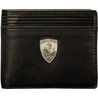 Puma Men Black Genuine Leather Wallet(6 Card Slots)