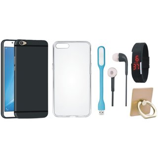 Oppo A71 Silicon Anti Slip Back Cover with Ring Stand Holder, Silicon Back Cover, Digital Watch, Earphones and USB LED Light