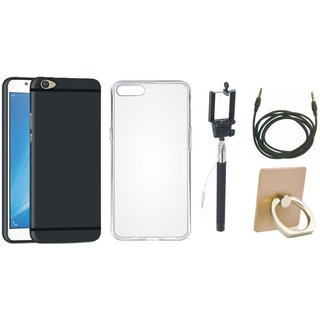 Oppo F1s Silicon Slim Fit Back Cover with Ring Stand Holder, Silicon Back Cover, Selfie Stick and AUX Cable