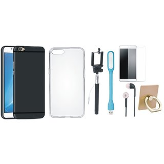 Oppo F1s Silicon Slim Fit Back Cover with Ring Stand Holder, Free Selfie Stick, Tempered Glass, Earphones and LED Light