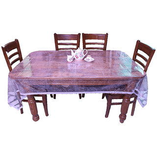 8 Seater Dinning Table Cover Classic Transparent Small Silver Lace E-Retailers