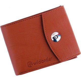 Wildantler Men Tan Artificial Leather Wallet (6 Card Slots)