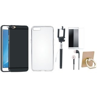 Oppo F1s Silicon Anti Slip Back Cover with Ring Stand Holder, Free Selfie Stick, Tempered Glass and Earphones
