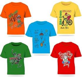 Pari  Prince Multicolour Kids Printed Round Neck Cotton T-shirt(Set Of 5)