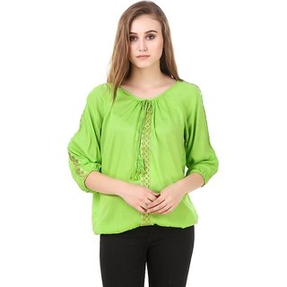 Amiable Party 3/4th Sleeve Embellished Women Green Top