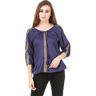 Amiable Party 3/4th Sleeve Embellished Women  Blue  Top