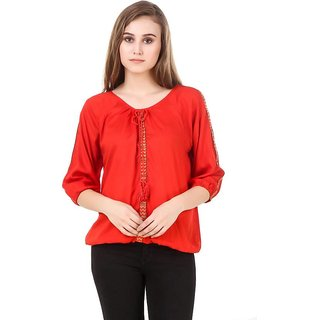 Amiable Party 3/4th Sleeve Embellished Women Red Top