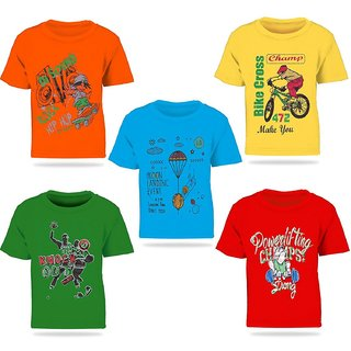 Pari & Prince Multicolor Printed Round Neck Cotton T-shirts For Kids (Set of 5)