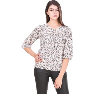 Amiable Casual 3/4th Sleeve Embellished Women White Top