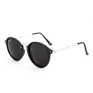 Royal Son UV Protected Round Sunglasses For Men and Women (RS003RD|47|Black Lens)