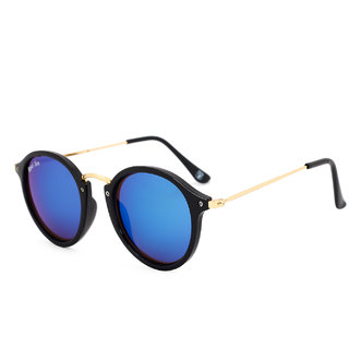 Royal Son UV Protected Round Sunglasses For Men and Women (RS004RD|47|Blue Mirrored Lens)