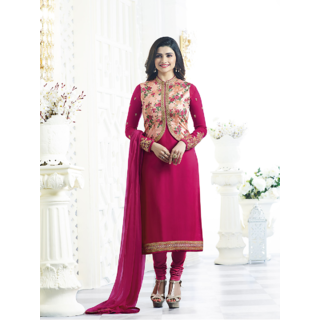 Prachi Desai Designer Red Embroidered Salwar suit With Designer Jacket (Unstitched)