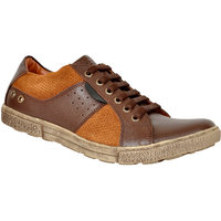 Allen Cooper ACCS-9005 Brown Tan Leather Sneakers Shoes
