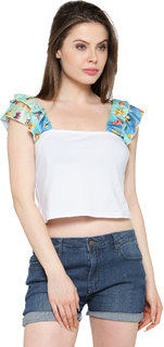 Inspire World White Plain Square Neck Crop Tops For Women
