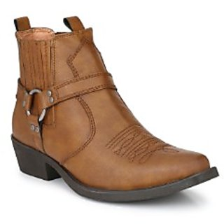 Delize Tan Cowboy Ankle Boots
