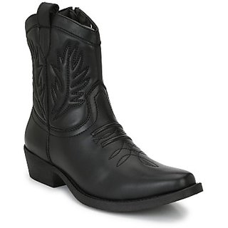 Delize Black Cowboy High Boots