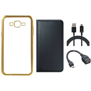 Chrome Tpu Back Cover with Golden Border for Oppo Neo 7 with Free Leather Finish Flip Cover, OTG Cable and USB Cable