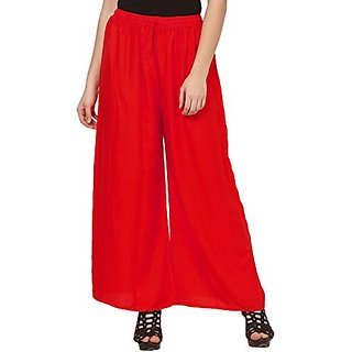 Designer Plain Casual Wear Palazzo Pant For Girls/Women - Free Size (Red)