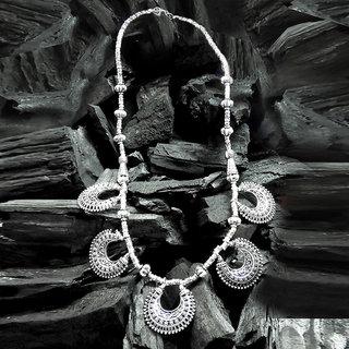 JewelMaze Silver Plated Statement Necklace Set-FAC0711