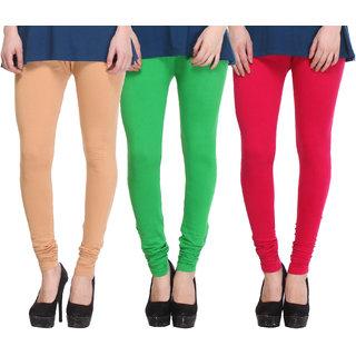 Hothy Cotton Stretch Churidar Leggings-(Beige,Green,Magenta)