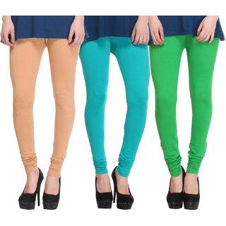 Hothy Cotton Stretch Churidar Leggings-(Beige,Light Green,Green)