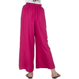 Designer Plain Casual Wear Palazzo Pant For Girls/ Women - Free Size (Pink)