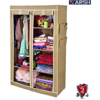 ARSH portable and collapsible Wardrobe Metal Frame 6 Racks Closet AW06 Beige with High Capacity up to 70kgs