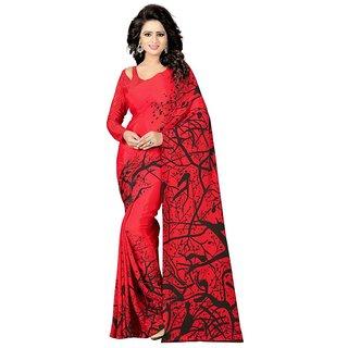 Madhvi Fashion New  Marvelous Red crepe Plain Design Sarees