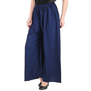 Designer Plain Casual Wear Palazzo Pant For Girls/ Women- Free Size (Blue)