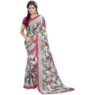 Madhvi Fashion New Beautiful White Georgette Silk Saree Sarees